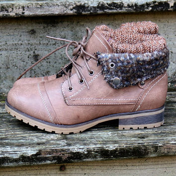 Mountain Trek Dark Taupe Cuffed Ankle Boots
