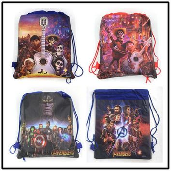 12Pcs 34cmx27cm Avengers Girl Shopping Drawstring Bag Coco School Backpack Child Birthday Baby Shower Non-woven Gift Bag Supply