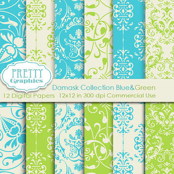 DAMASK PAPERS - Blue&Green - Printable Papers - Commercial Use - 12x12 JPG Files - Scrapbook Papers - High Quality 300 dpi