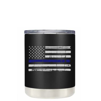 Distressed Thin Blue Line Police Flag on Black Matte 10 oz Lowball Police Tumbler