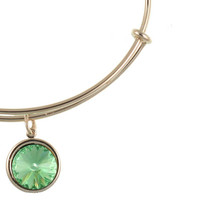 Alex and Ani Crystal Birthstone Expandable Wire Bangle May - Emerald - Shiny Silver