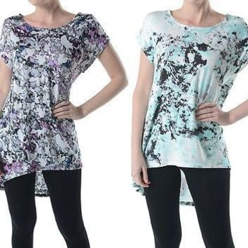 Women Floral Print Round Neck Long Tunic Hi-Low Hem Short Sleeve Shirt Top