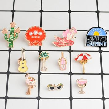 Cartoon Summer Brooch Sunny Guitar Palm tree Sunglasses Cocktail Flamingos Parasols Mermaid Cactus Shell Pin Buckle Badge Gifts
