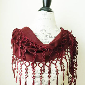 Ship from USA Red Organic CottonPashmina Lace by SistersLace
