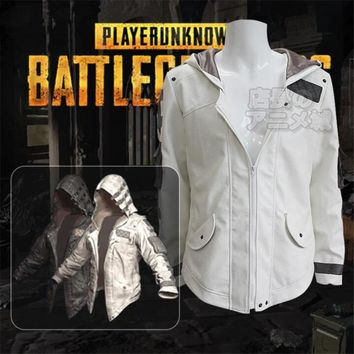 Game PUBG Playerunknown's Battlegrounds Cosplay Costumes Hooded Jacket Cloak Middle Ages Trench High Quality Chicken Dinner