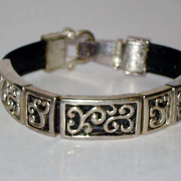 silver plated well made Brighton style leather bracelet