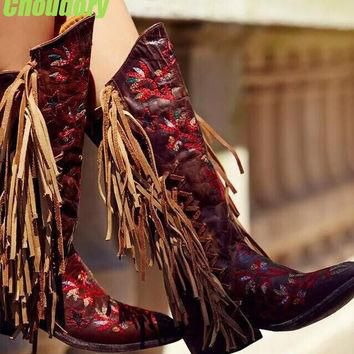 Free Style Red Embroidery Flowers Women Fringe Boots Dark Brown Leather Point Toe Cowb