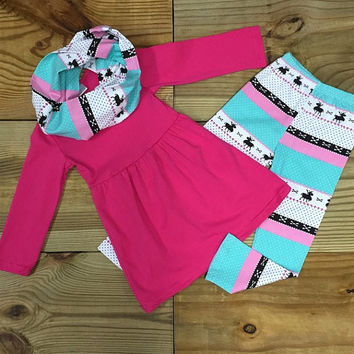 Hot Pink Deer 3 Pc Outfit