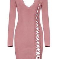 Long Sleeve Side Lace Up Bandage Dress - Blush