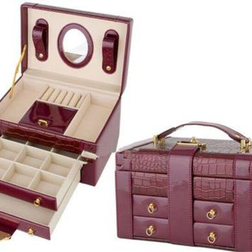 Portable Carrying Jewellery Box PU Leather Storage Organizer Deluxe