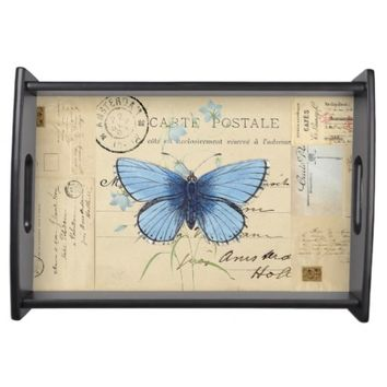 Vintage Blue Butterfly French Postcard Tray Service Tray
