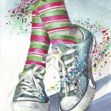 HM046 Original watercolor art painting Chuck illustration of Converse All Stars by Hel
