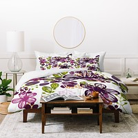 Natalie Baca Floral In Plum Duvet Cover
