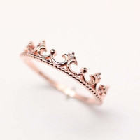 925 sterling silver Tiara Ring in pink gold