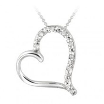 Sterling Silver Diamond Accent Open Floating Heart Necklace
