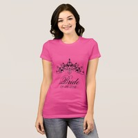 Hot pink, bride with a crown, T-Shirt