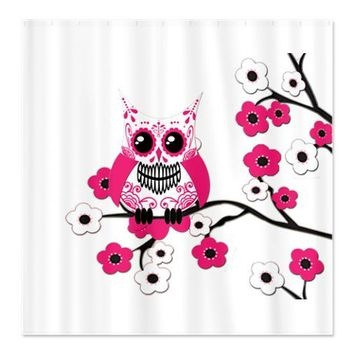 Pink & White Sugar Skull Owl Shower Curtain by NaturesLittleTreasures