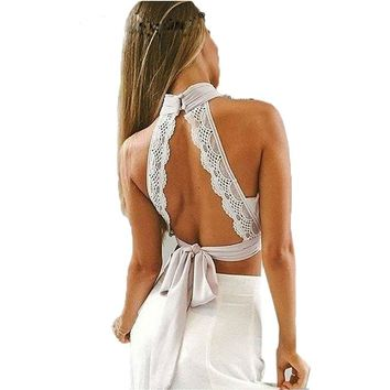 2017 Women Backless Halter Lace Tank Tops Female Sexy Hollow Out Tops Vests Back Bow Tie  Camis Vest Black White Pink Crop Top