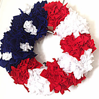Patriotic wreath, red white blue, memorial day, labor day, fourth of july, july 4th, holiday decor, front door decor, holiday wreath