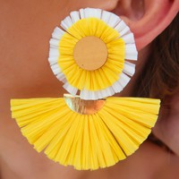 On The Hunt Earrings: Yellow/White