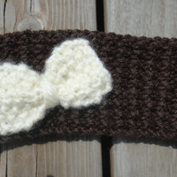 Winter Knitted Headband with Bow
