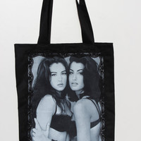 Handmade one of a kind Black Cotton Printed Lace framed Monica Bellucci and Yasmeen Ghauri Large / Long Straps Handbag