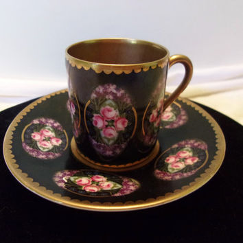 Beyer & Bock Demitasse Tea Cup Saucer Vintage Pink Rose Flowers Black Gold Porcelain 1905 Germany