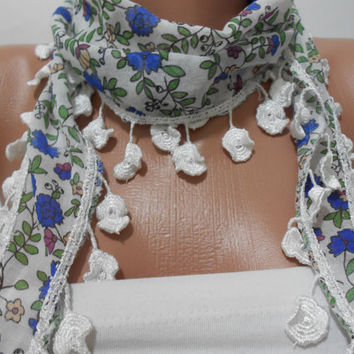 Floral Blue White Scarf Shawl, Cowl Scarf with Lace Edge, Head Wrap, Gift For Her For Mom, ScarfClub