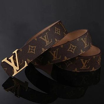 Perfect Louis Vuitton LV Woman Men Fashion Smooth Buckle Belt Leather Belt Skin Belts