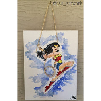 Wonder-Woman 9x12 Acrylic Painting Mixed Media DC Comics Woman Superhero Comic Book Art Wall Art Home Decor Childrens Decor