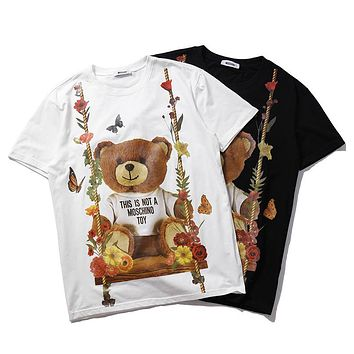 Moschino summer new swing swing bear couple models round neck short-sleeved T-shirt F-CP-ZDL-YXC