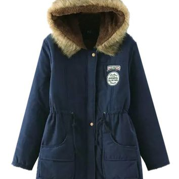 Navy Drawstring Patch Detail Faux Shearling Lining Hooded Coat