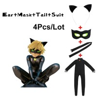 Black Cat Noir Cosplay Costume Miraculous Ladybug Halloween Christmas Jumpsuit For Boys Adrien Marinette Superhero Cosplay Dress