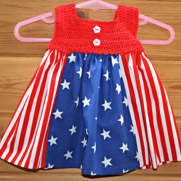 #Etsy #baby #patriotic #crochet #dress #newborn #girl #clothes photo prop stars & stripes red white blue cotton 0 -3m crochetyknitsnbits onl