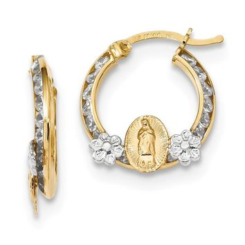 14K Rhodium Plated Yellow Gold w/White Rhodium CZ Lady of Guadalupe Hoop Earrings