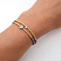 Minimal Bracelet, Tiny Bracelet, Friendship Bracelet, Petite Heart Bracelet, Thin Bracelet, Silver and Gold Bracelet, Stacking Bracelet