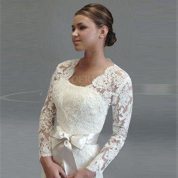 Elegant Long Sleeve Lace Bolero Wedding Accessories Jacket Bridal Wraps Simple Plus Size Bridal Shrug Womens Lace Shawl ASWP06