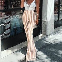 Ambar Stripped Bell Bottom Trousers