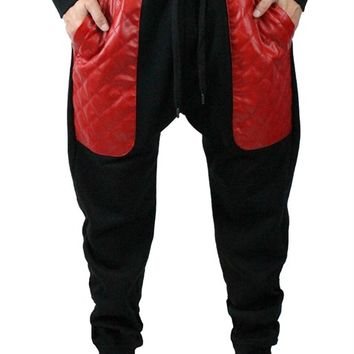 Quilted PU Leather Pocket Joggers large Red pocket Black pants drop crotch