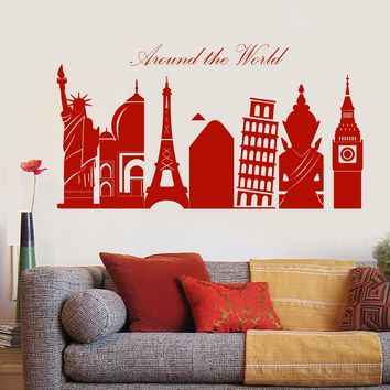 Wall Vinyl Decal Sticker Around Wonders of World Symbol of Cities Home Interior Decor n968