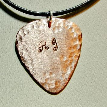 Personalized Copper Guitar Pick Necklace