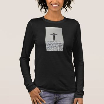 Black Cross Long Sleeve Shirt Women's Christian