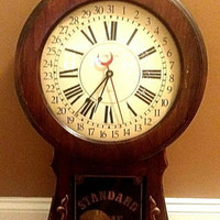 Clock Hanging Wall Verichron Chime Clocks Standard Time Solid Wood Vintage Clock