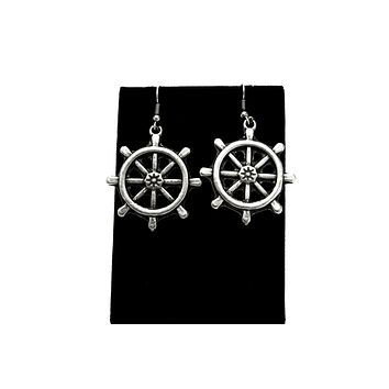 Ship Wheel Antique Silver Plated Earrings with French Style Hooks