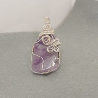 February birthstone, Amethyst wire pendant, Mother's day gift, Zodiac Virgo, Sagittarius, Capricorn, Aquarius, Pisces