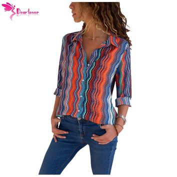Dear Lover Blouses for Women Casual Tops Eye-catching Zigzag Long Sleeve Button Down Shirt Feminina Camisas LC251153