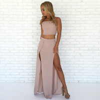 Vagabond Maxi Skirt & Tank Top Set In Pink