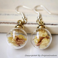 Nature Inspired Jewelry Real Dried Clover Earrings Gift (HM0038-GOLD)