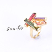 2016 Popular Copper Ring Classic Style Ring with colorful Trinitites June Flower
