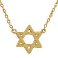 925 Sterling Silver Yellow Gold-Tone Small Classic Jewish Star of David Pendant Necklace
